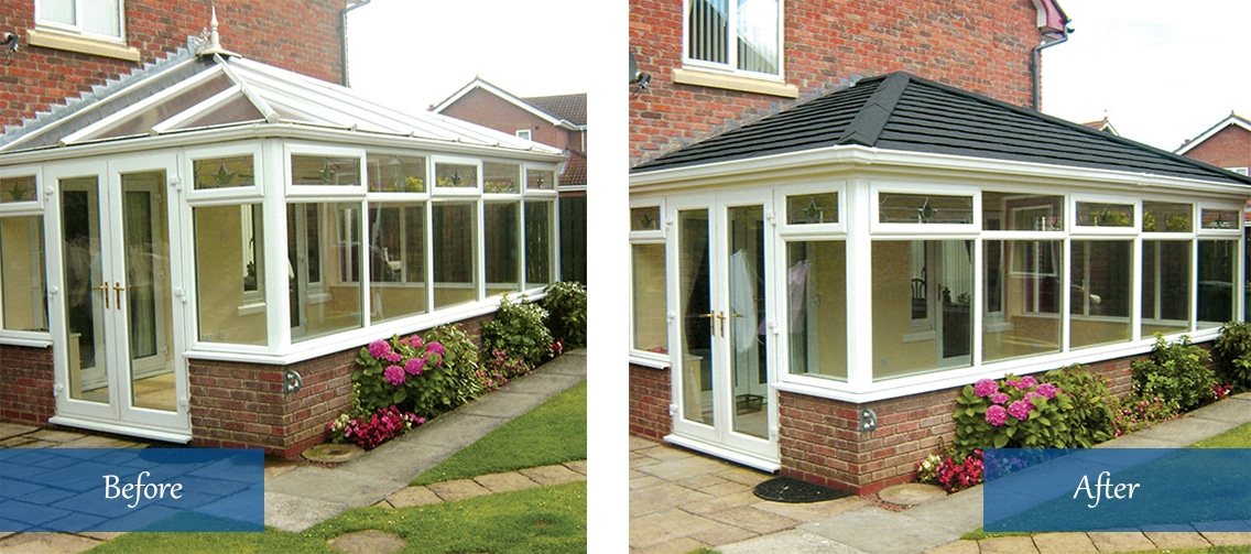 Replacement Conservatory Roof before and after Southampton