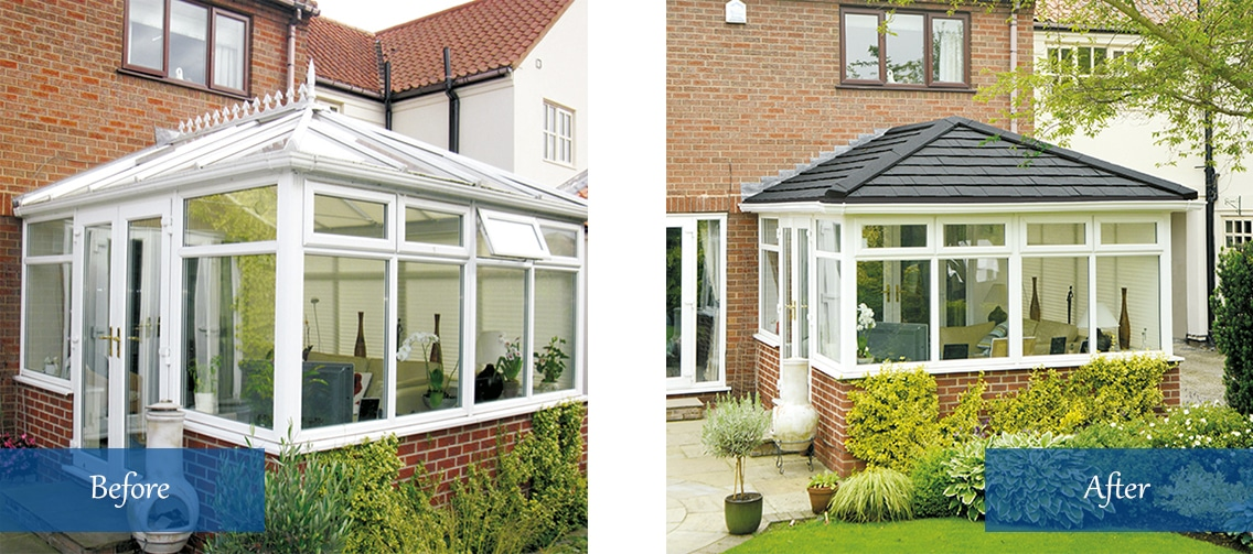 Tiled conservatory roof before and after